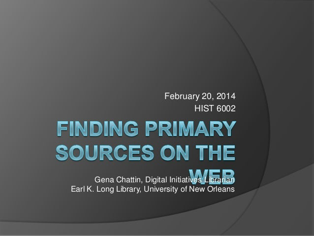 Finding Primary Sources and Digital Collections on the Web