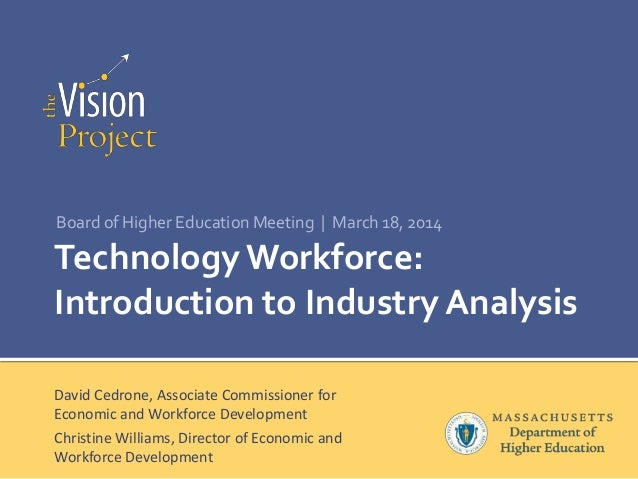 Technology Workforce: Introduction to Industry Analysis Board of Higher Education Meeting | March 18, 2014 David Cedrone, ...