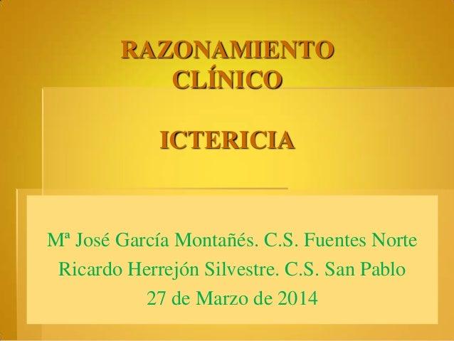 RAZONAMIENTO CLÍNICO ICTERICIA Mª José García Montañés. C.S. Fuentes Norte Ricardo Herrejón Silvestre. C.S. San Pablo 27 d...