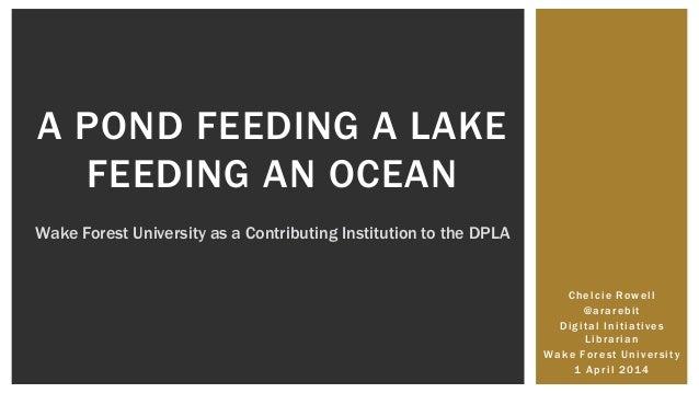 Chelcie Rowell @ararebit Digital Initiatives Librarian Wake Forest University 1 April 2014 A POND FEEDING A LAKE FEEDING A...
