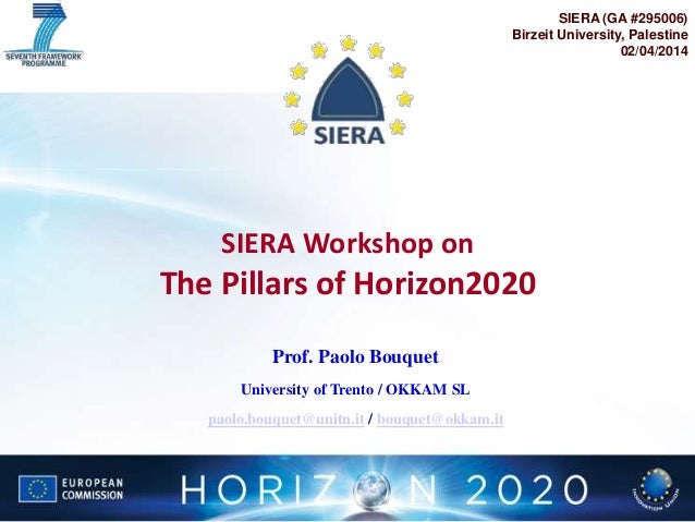 Bouquet: SIERA Workshop on The Pillars of Horizon2020