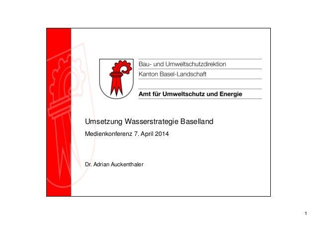 1 Umsetzung Wasserstrategie Baselland Medienkonferenz 7. April 2014 Dr. Adrian Auckenthaler