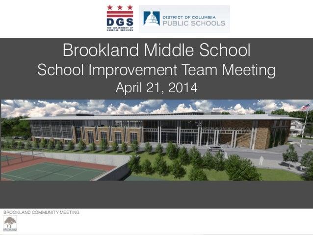 Brookland Middle SIT Meeting Presentation (April 21, 2014)