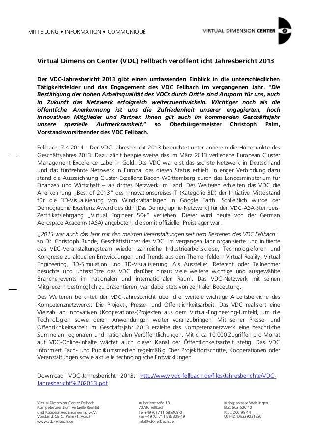 2014-04 PM Virtual Dimension Center (VDC) veröffentlicht Jahresbericht 2013