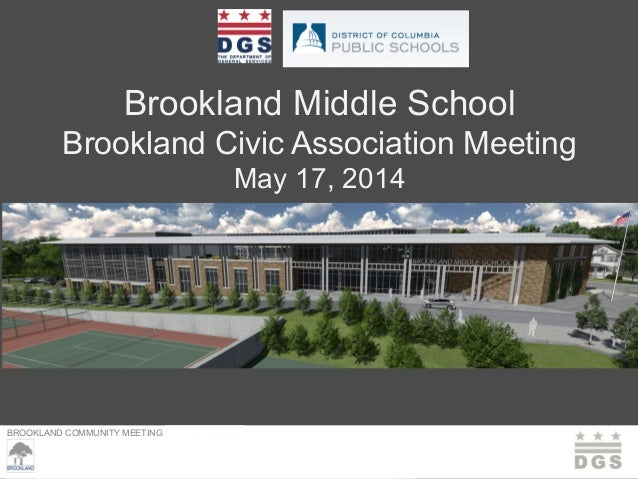 BROOKLAND COMMUNITY MEETING – MARCH 23, 2013 Brookland Middle School Brookland Civic Association Meeting May 17, 2014