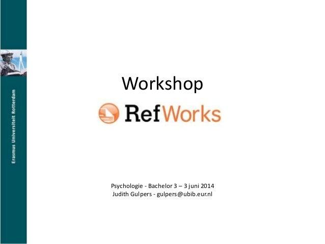 RefWorks voor Psychologie