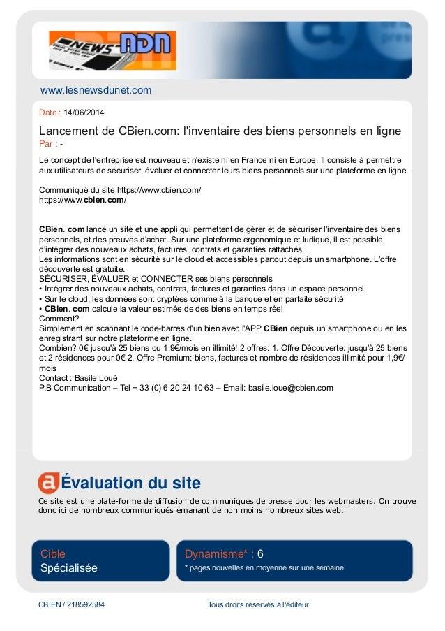 www.lesnewsdunet.com Évaluation du site Ce site est une plate-forme de diffusion de communiqués de presse pour les webmast...