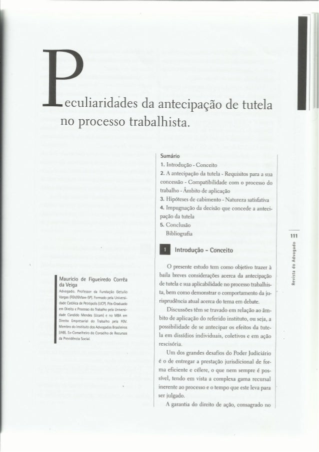 PECULIARIDADES DA ANTECIPAÇÃO DE TUTELA NO PROCESSO DO TRABALHO