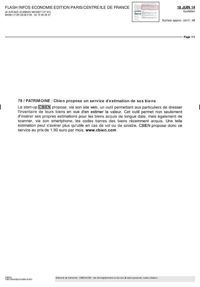 FLASH INFOS ECONOMIE EDITION PARIS/CENTRE/ILE DE FRANCE 24 AVENUE JOANNES MASSET CP 613 69258 LYON CEDEX 09 - 04 72 00 26 ...