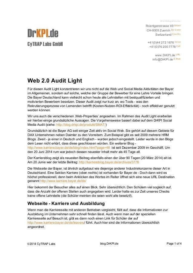 2014-06-Bayer-Urs.doc  DrKPI.de  CyTRAP Labs GmbH  Roentgenstrasse 49 Street  CH-8005 Zuerich Zip Code  Switzerland Countr...