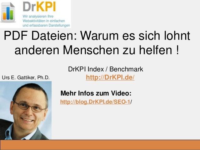 DrKPI.de _Ausbildungsplätze: PDF Dateien: Warum es sich lohnt anderen Menschen zu helfen ! DrKPI Index / Benchmark http://...
