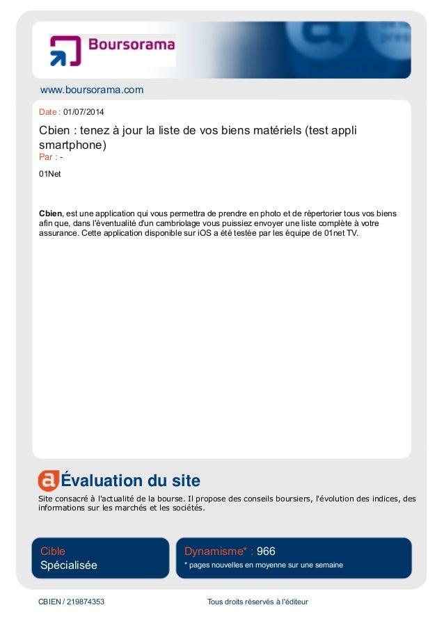www.boursorama.com Évaluation du site Site consacré à l'actualité de la bourse. Il propose des conseils boursiers, l'évolu...