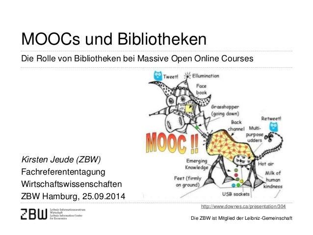 Die ZBW ist Mitglied der Leibniz-Gemeinschaft  MOOCs und Bibliotheken  Kirsten Jeude (ZBW) Fachreferententagung Wirtschaft...