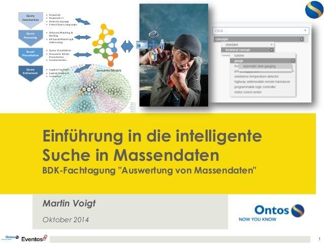 """Einführung in die intelligente Suche in MassendatenBDK-Fachtagung""""Auswertungvon Massendaten""""  Martin VoigtOktober 2014  1 ..."""