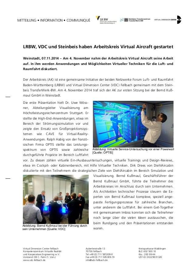 MITTEILUNG • INFORMATION • COMMUNIQUÉ  Virtual Dimension Center Fellbach  Kompetenzzentrum Virtuelle Realität  und Koopera...