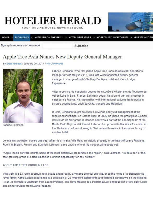 Villa Maly Luang Prabang Boutique Hotel & Kamu Lodge Experience's new Deputy General Manager Fabrice Lehmann is named in Hospitaliy Herald's January 2014 news