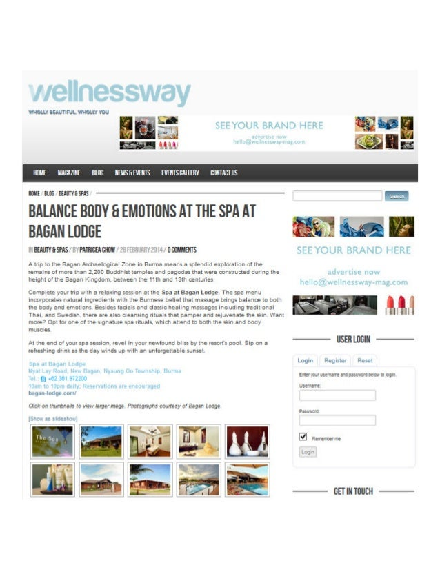 Balance Body & Emotions at the Spa at Bagan Lodge featured by Wellness Way Magazine