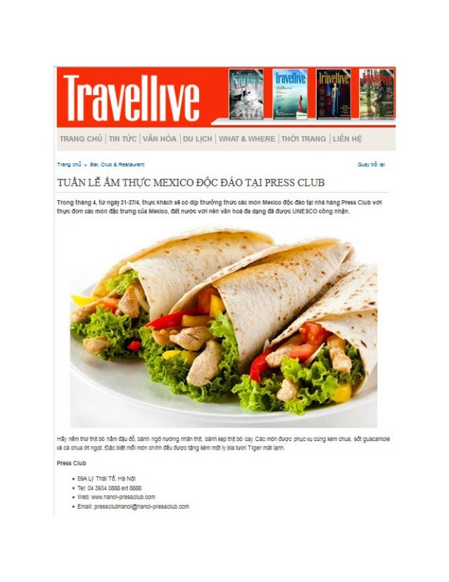 Travellive features the news of upcoming Mexican food week at the Press Club Hanoi