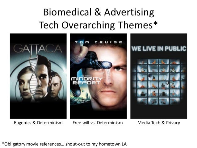 Biomedical & Advertising Tech Overarching Themes* Eugenics & Determinism Free will vs. Determinism Media Tech & Privacy *O...
