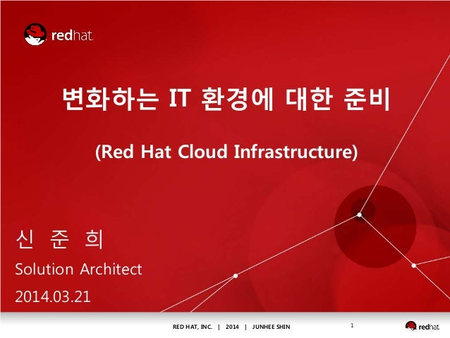RED HAT, INC. | 2014 | JUNHEE SHIN 1 변화하는 IT 환경에 대한 준비 (Red Hat Cloud Infrastructure) 신 준 희 Solution Architect 2014.03.21
