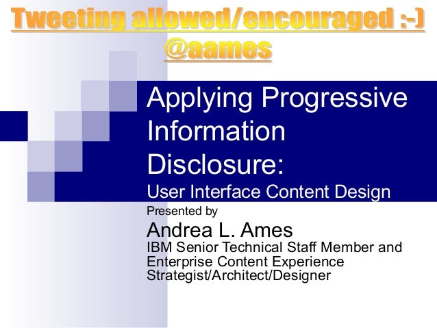 Applying Progressive Information Disclosure: User Interface Content Design