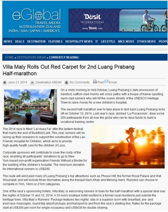 EGlobal Travel Media: Villa Maly Rolls Out Red Carpet for 2nd Luang Prabang Half-marathon