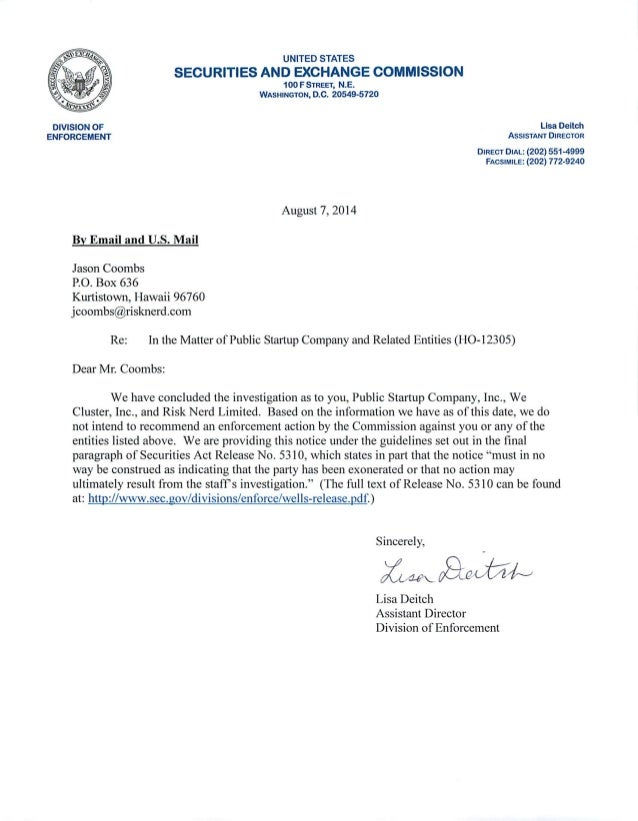 JOBS Act Rule 506 c  formal investigation Closing Letter from the BtNXENlh