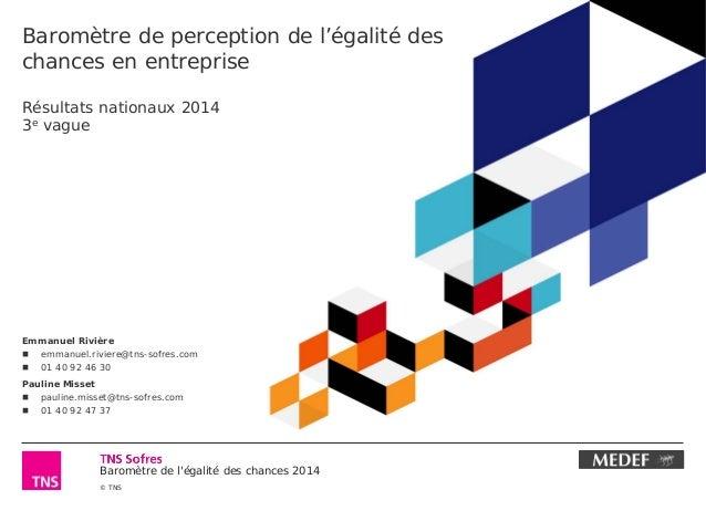 Baromètre de l'égalité des chances 2014  © TNS  Baromètre de perception de l'égalité des chances en entreprise Résultats n...