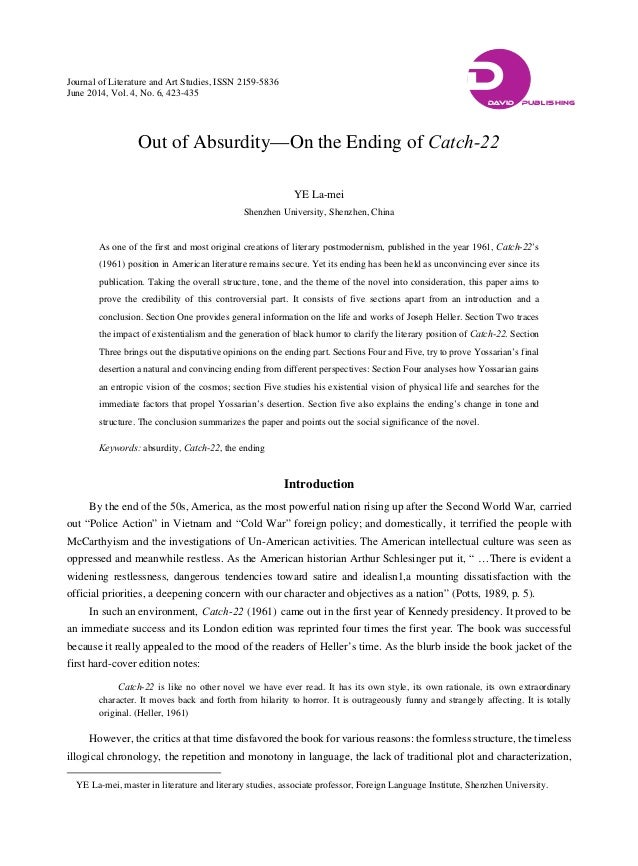 Please help on a thesis for Catch 22 and distortion.?