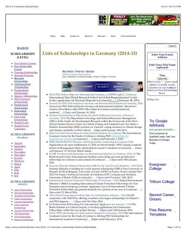 2014-15 Germany Scholarships For International Students