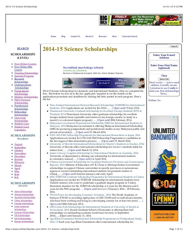 2014 15 Science Scholarships For International And Domestic Students