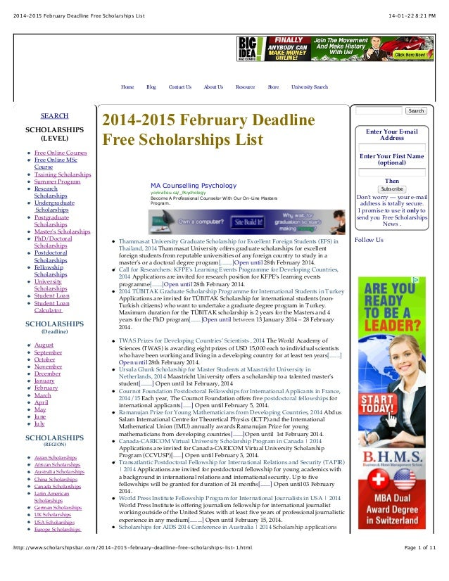 2014-2015 February Deadline Free Scholarships List  Home  SEARCH SCHOLARSHIPS (LEVEL) Free Online Courses Free Online MSc ...