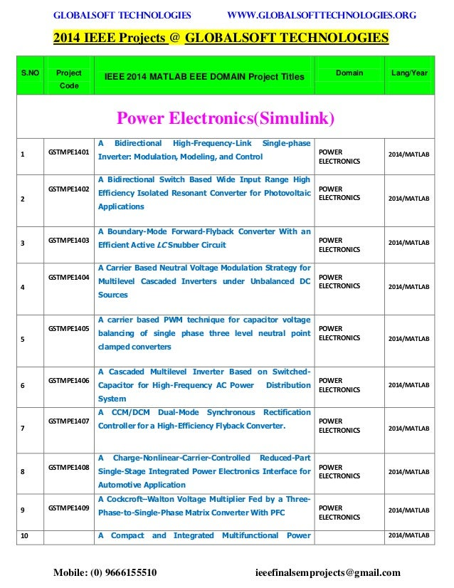 2014 2015 Ieee Matlab Power Electronics Projects Titles
