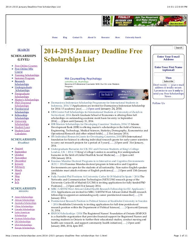 2014-2015 January Deadline Free Scholarships List  Home  SEARCH SCHOLARSHIPS (LEVEL) Free Online Courses Free Online MSc C...