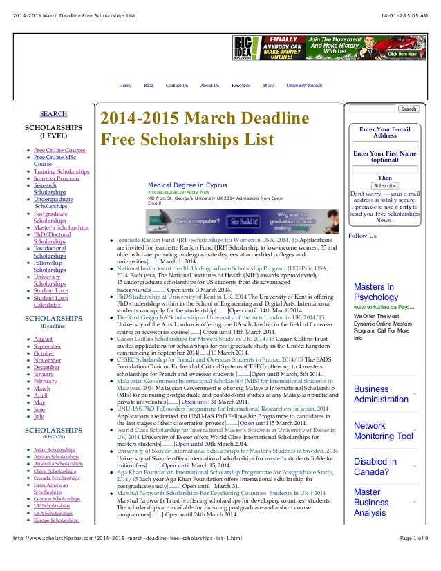 2014-2015 March Deadline Free Scholarships List  Home  SEARCH SCHOLARSHIPS (LEVEL) Free Online Courses Free Online MSc Cou...
