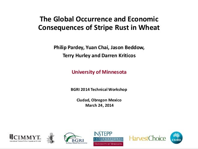 The Global Occurrence and Economic Consequences of Stripe Rust in Wheat Philip Pardey, Yuan Chai, Jason Beddow, Terry Hurl...