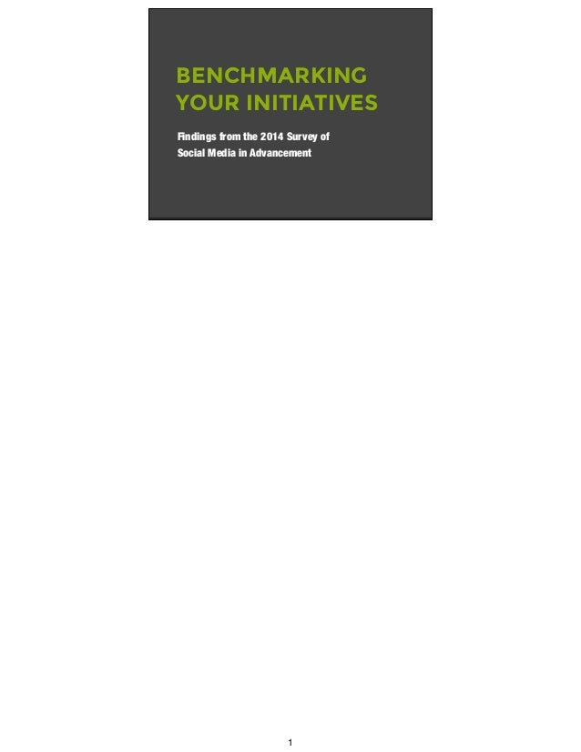 BENCHMARKING YOUR INITIATIVES Findings from the 2014 Survey of Social Media in Advancement 1