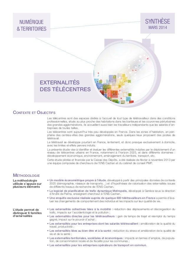 Externalités des télécentres - Synthèse de l'étude CDC