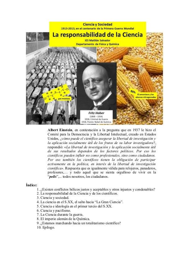 Albert Einstein, en contestación a la pregunta que en 1937 le hizo el Comité para la Democracia y la Libertad Intelectual,...