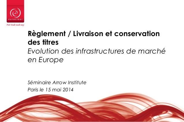 Règlement / Livraison et conservation des titres Evolution des infrastructures de marché en Europe Séminaire Arrow Institu...