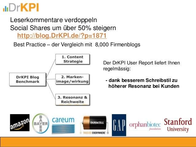 Best Practice – der Vergleich mit 8,000 Firmenblogs  Leserkommentare verdoppeln  Social Shares um über 50% steigern  http:...