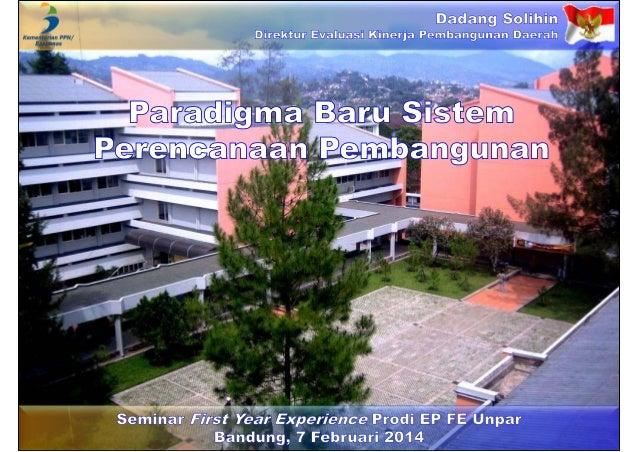 Paradigma Baru Sistem Perencanaan Pembangunan