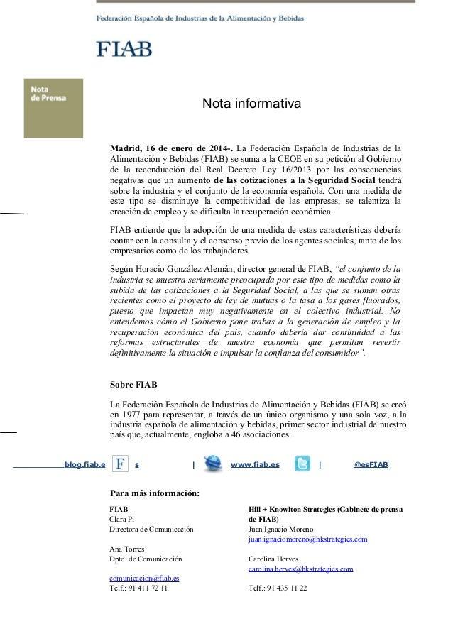 20140116 Nota informativa FIAB sobre subida cotizaciones a la Seguridad Social