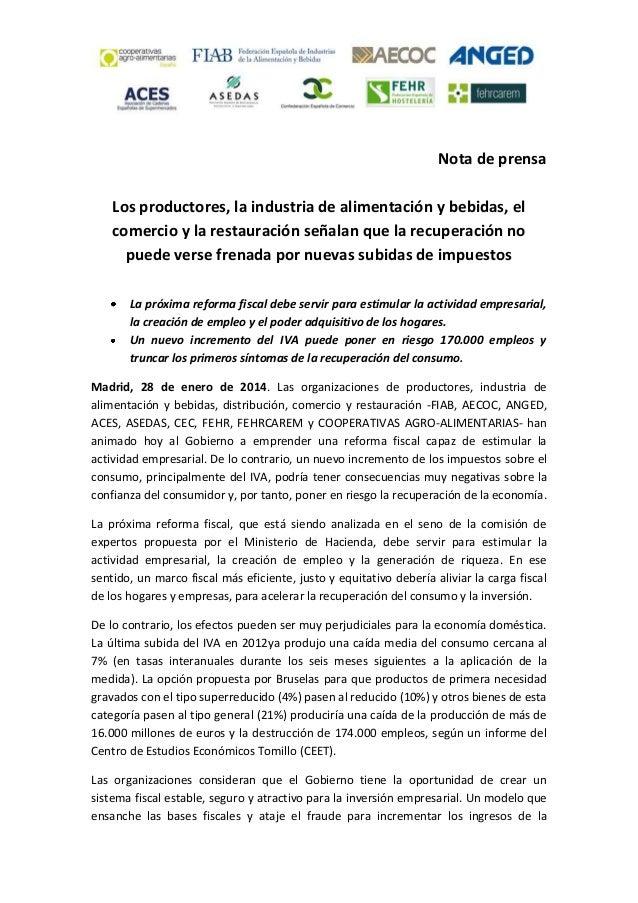 20140128 NP La cadena alimentaria señala que la recuperación no puede verse frenada por nuevas subidas de impuestos