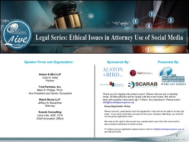 Speaker Firms and Organization:  Sponsored By:  Presented By:  Alston & Bird LLP Colin K. Kelly Partner Trial Partners, In...