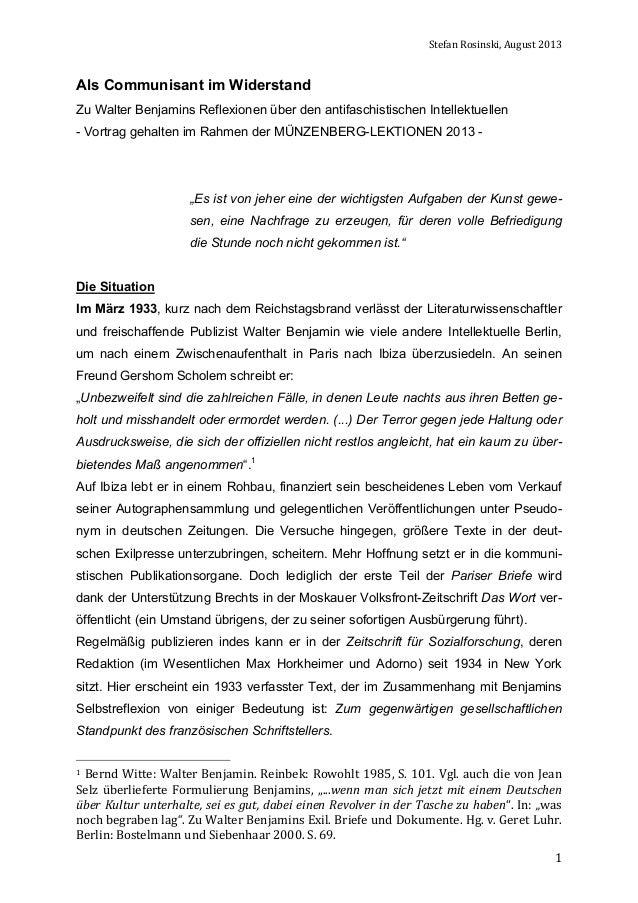 Stefan  Rosinski,  August  2013    Als Communisant im Widerstand Zu Walter Benjamins Reflexionen über den antifasc...