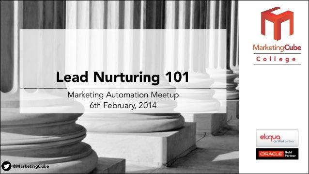C o l l e g e  Lead Nurturing 101 Marketing Automation Meetup 6th February, 2014  @MarketingCube