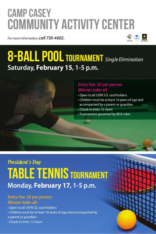 Casey CAC Pool & Table Tennis