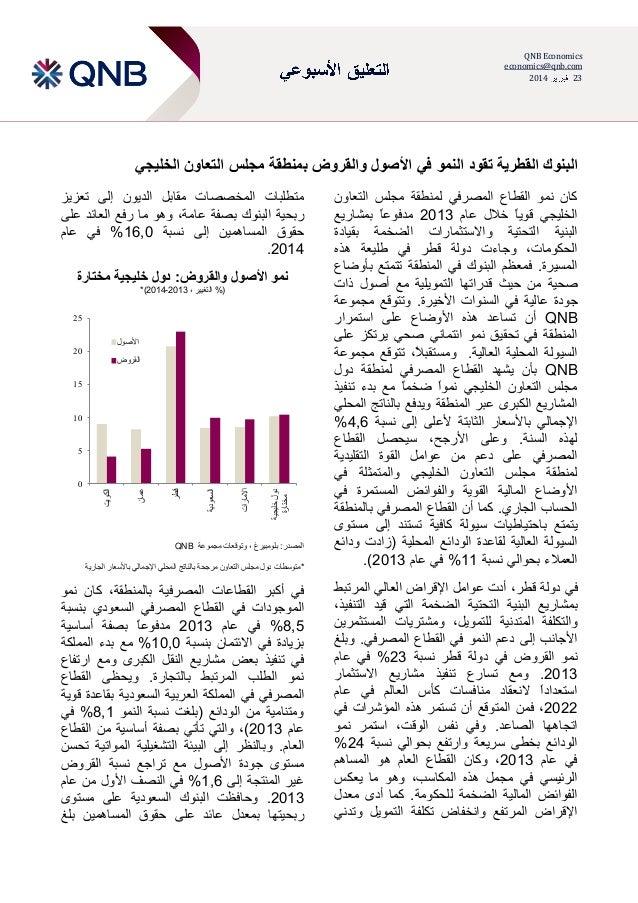 QNB Economics economics@qnb.com 2013 23  البنوك القطرية تقود النمو في األصول والقروض بمنطقة مجلس التعاون الخل...