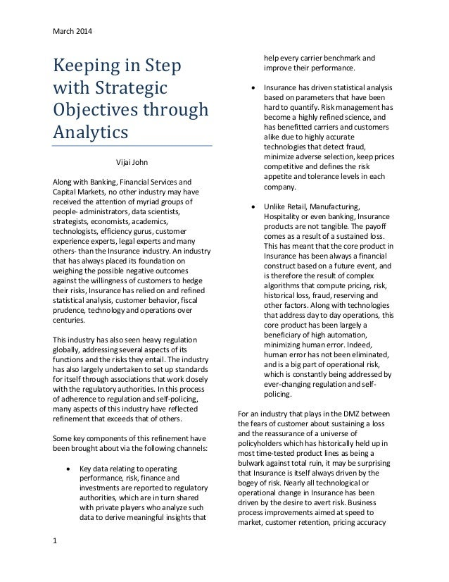 Keeping in Step With Strategic Business Objectives in Insurance through Analytics